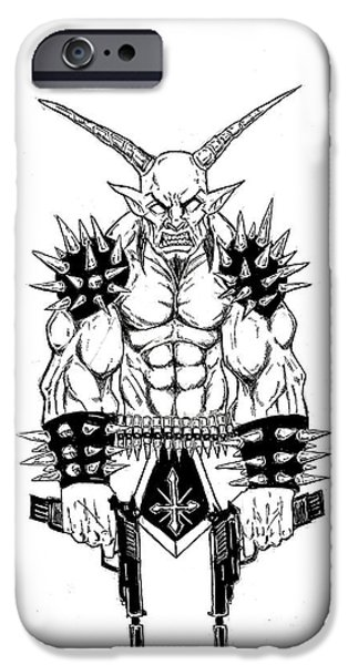 Religious Drawings iPhone Cases - Goatlord Vengeance White iPhone Case by Alaric Barca