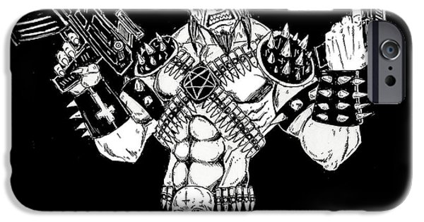 Religious Drawings iPhone Cases - Goatlord Warzone iPhone Case by Alaric Barca