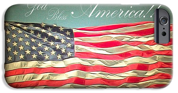 Old Glory Paintings iPhone Cases - God Bless America 2 iPhone Case by Barbara Snyder