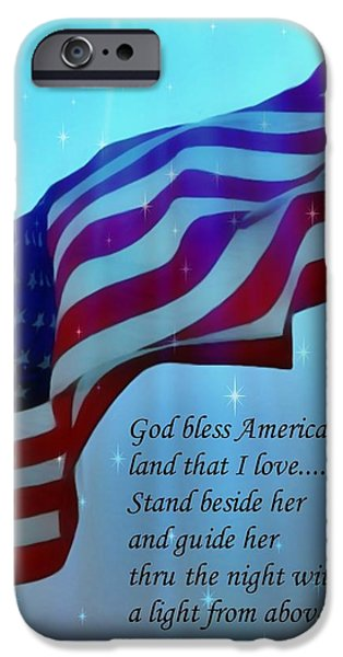 Old Glory iPhone Cases - God Bless America iPhone Case by Barbara Chichester