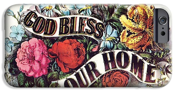 Currier iPhone Cases - God Bless Our Home iPhone Case by Currier and Ives
