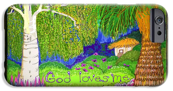 Weeping Drawings iPhone Cases - God Loves Me iPhone Case by Art Christian