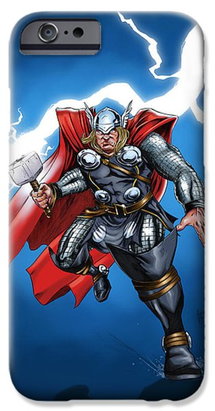 Hammer Paintings iPhone Cases - God of Thunder iPhone Case by Arturo Vilmenay
