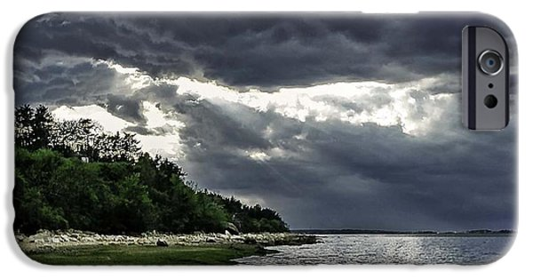 Storm Clouds Cape Cod iPhone Cases - God Rays iPhone Case by Keith Woodbury