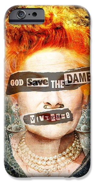 Abstract Fashion Designer Art iPhone Cases - God Save the Dame - Vivienne Westwood Portrait iPhone Case by Czar Catstick