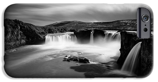 Monochrome iPhone Cases - Godafoss iPhone Case by Dave Bowman