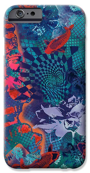 Recently Sold -  - Hindu Goddess iPhone Cases - Goddess And Koi Contemplate Vortex iPhone Case by Paula Ferree