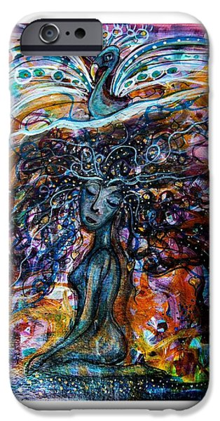 Goddess Mythology Paintings iPhone Cases - Goddess And Peacock iPhone Case by Mimulux patricia no