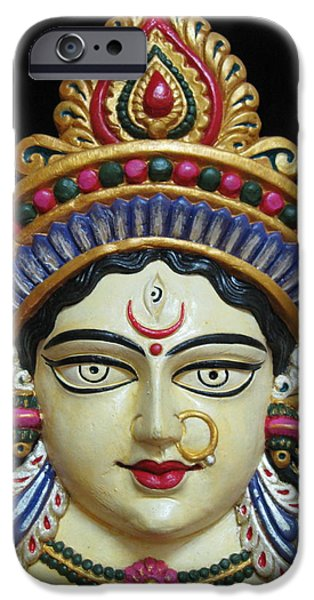Hindu Goddess Mixed Media iPhone Cases - Goddess Durga iPhone Case by Sayali Mahajan