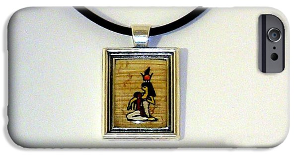 Horus iPhone Cases - Goddess Isis Nursing Horus Papyrus Necklace iPhone Case by Pet Serrano