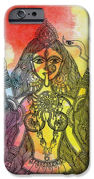 Hindu Goddess iPhone Cases - Goddess Kali iPhone Case by Shishu Suman