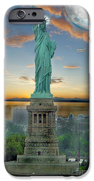 Patriotism iPhone Cases - Goddess Of Freedom iPhone Case by Gary Keesler