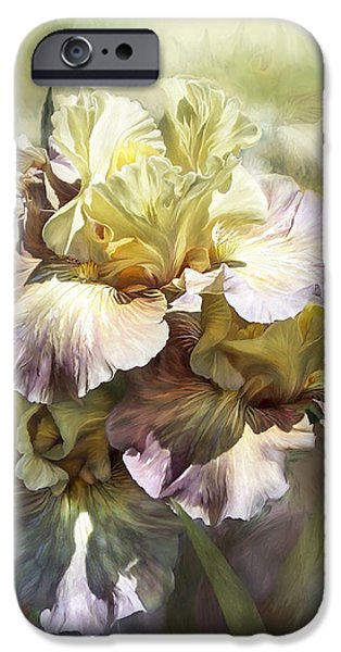 Yellow Bearded Iris iPhone Cases - Goddess Of Memories iPhone Case by Carol Cavalaris