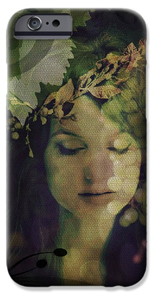 Gaia Digital iPhone Cases - Goddess of Nature iPhone Case by Absinthe Art By Michelle LeAnn Scott