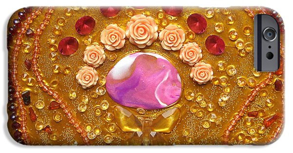 Rose Reliefs iPhone Cases - Goddess of the golden sea iPhone Case by Heidi Sieber