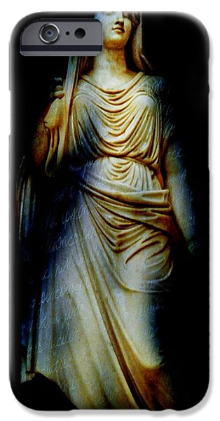 Statue Portrait iPhone Cases - Goddess of the Night iPhone Case by Diana Angstadt