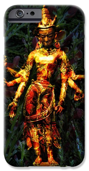 Hindu Goddess iPhone Cases - Goddess with 6 arms iPhone Case by Joel Zimmerman