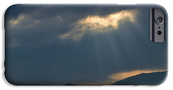Sun Breaking Through Clouds iPhone Cases - Gods Morning Rays iPhone Case by Eva Thomas