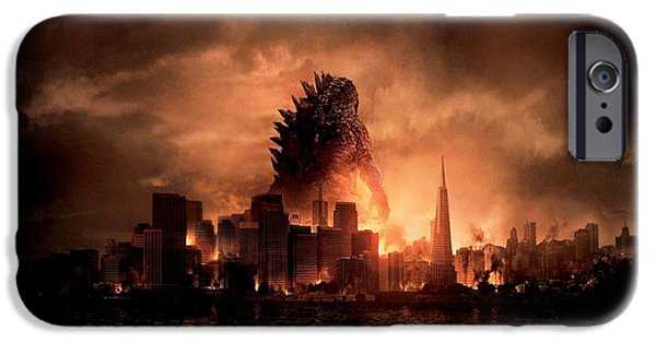 Business iPhone Cases - Godzilla 2014 iPhone Case by Movie Poster Prints