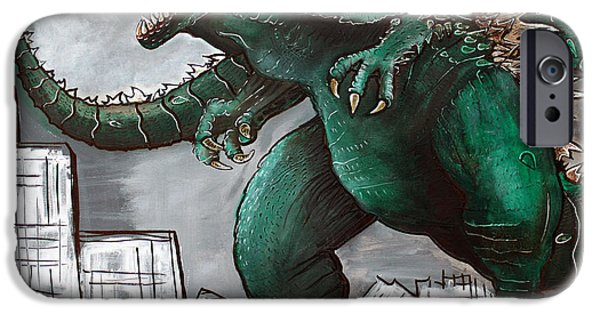 Buildings Mixed Media iPhone Cases - Godzilla Gojira iPhone Case by Laura Barbosa