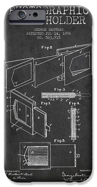Film Camera iPhone Cases - George Eastman Film Holder Patent from 1896 - Dark iPhone Case by Aged Pixel