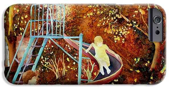 Park Scene Paintings iPhone Cases - Going Down The Slide Montreal Paintings Park Scenes Carole Spandau iPhone Case by Carole Spandau