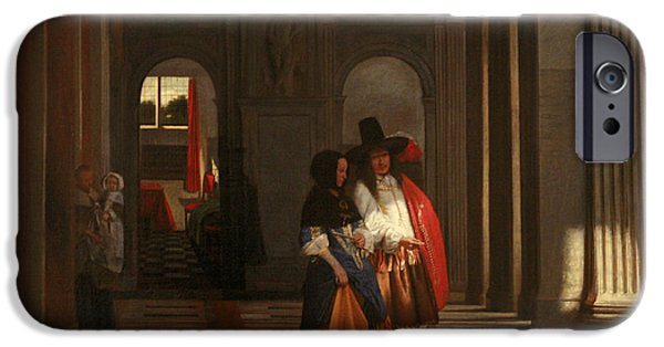 Domestic Scene iPhone Cases - Going for a Walk iPhone Case by Pieter de Hooch