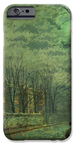 Going Green iPhone Cases - Going Home By Moonlight iPhone Case by John Atkinson Grimshaw