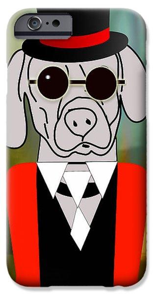 Weimaraner Puppy iPhone Cases - Going Somewhere Mr Weimaraner iPhone Case by Marvin Blaine