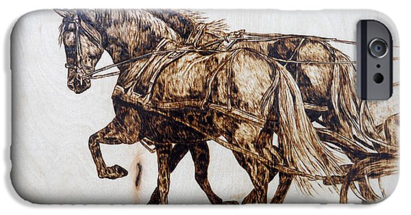 Horse Pyrography iPhone Cases - Going to Town iPhone Case by Melissa Fuller