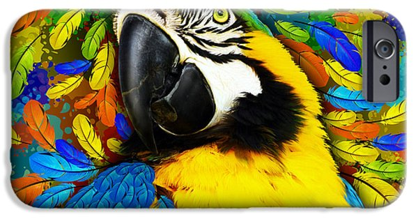 Fauna iPhone Cases - Gold and Blue Macaw Fantasy iPhone Case by BluedarkArt Lem