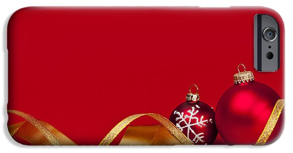 Festivities iPhone Cases - Gold and red Christmas decorations iPhone Case by Elena Elisseeva