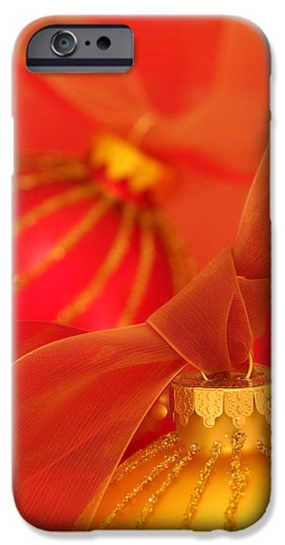 Christmas iPhone Cases - Gold and Red Ornaments with Ribbons iPhone Case by Carol Leigh