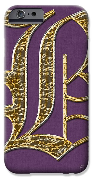 Becky Digital Art iPhone Cases - Gold B on Purple iPhone Case by Barbara Griffin