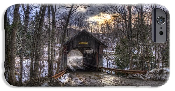 New England Snow Scene iPhone Cases - Gold Brook Covered Bridge - Stowe Vermont iPhone Case by Joann Vitali