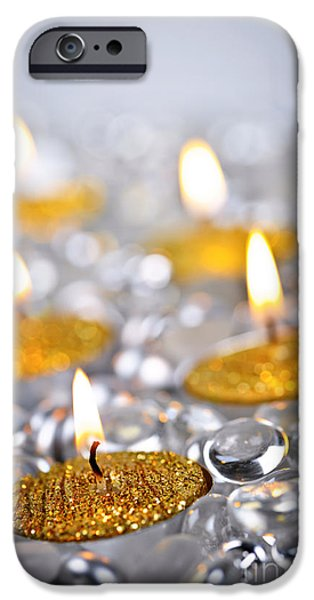 Beads iPhone Cases - Gold Christmas candles iPhone Case by Elena Elisseeva