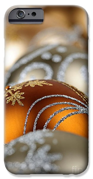 Festivities iPhone Cases - Gold Christmas ornaments iPhone Case by Elena Elisseeva