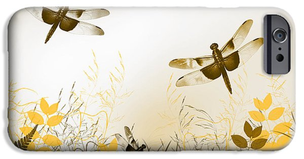 Wall Greeting Cards Digital iPhone Cases - Gold Dragonfly Art iPhone Case by Christina Rollo