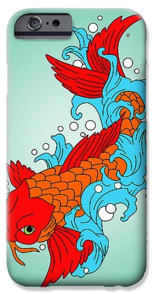 Animation iPhone Cases - Gold Fish 3 iPhone Case by Mark Ashkenazi