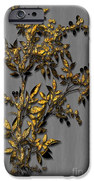 Multimedia iPhone Cases - Gold Flowers iPhone Case by Tina M Wenger