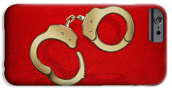 Police Art iPhone Cases - Gold Handcuffs on Red Leather Background iPhone Case by Serge Averbukh