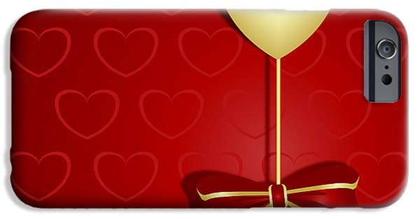 Graphic Design iPhone Cases - Gold heart and ribbon on rich red background iPhone Case by Wendy Townrow