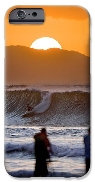 Surfing iPhone Cases - Gold Kaena Sunset iPhone Case by Sean Davey