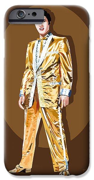 Gold Lamee Elvis iPhone Case by Jarod