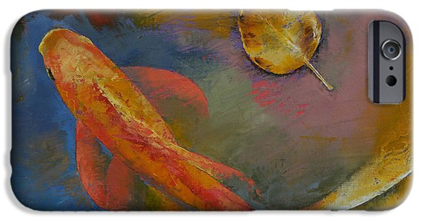 Michael Paintings iPhone Cases - Gold Leaf iPhone Case by Michael Creese