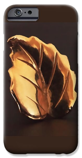 Leaf iPhone Cases - Gold Leaf iPhone Case by Rona Black