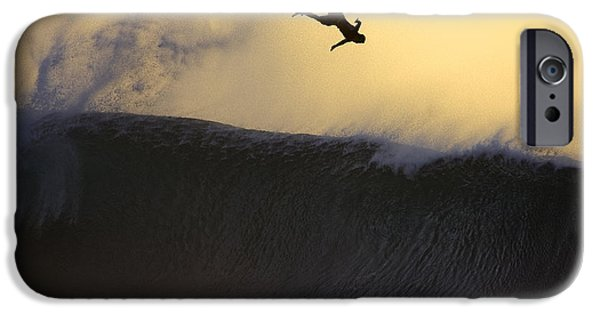 Surf Silhouette iPhone Cases - Gold Leap iPhone Case by Sean Davey