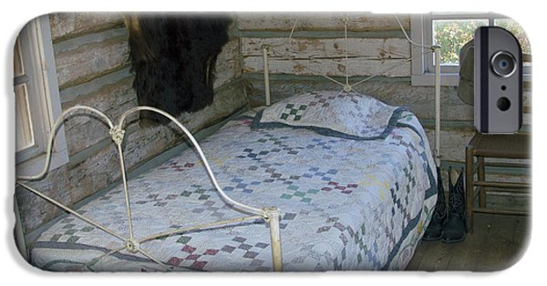 Bed Spread iPhone Cases - Gold Miners Cabin iPhone Case by Barbara Snyder