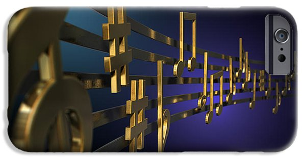 Concept Digital Art iPhone Cases - Gold Music Notes On Wavy Lines iPhone Case by Allan Swart