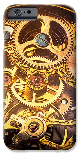 Precise iPhone Cases - Gold pocket watch gears iPhone Case by Garry Gay